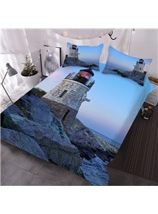 Lighthouse by The Sea At Dust Printed 3D 3-Piece Comforter Sets