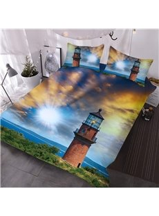 Lighthouse and Majestic Dreamy Sky Printed 3D 3-Piece Comforter Sets