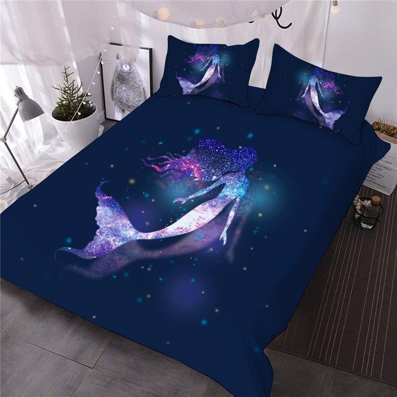 Charming Galaxy Mermaid Printed 3-Piece 3D Comforter Sets