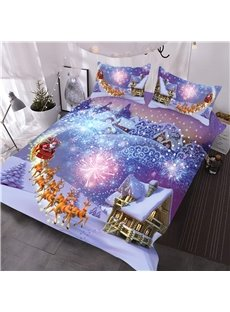 Reindeer Pull Santa's Sleigh and Fireworks Snow-house Printed 3-Piece 3D Bedding Comforter Sets