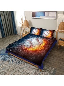 Baseball with Fire and Water Printed 3-Piece 3D Comforter Sets