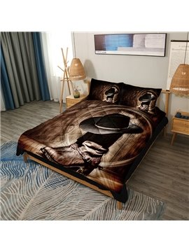 Wild West Themed Cowboy Hat and Boots 3D Printed 3-Piece Lightweight Warm Soft Microfiber Comforter Sets
