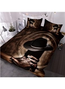 Wild_West_Themed_Cowboy_Hat_and_Boots_Printed_3D_3Piece_Comforter_Sets