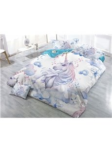 White Unicorn Printed 3D 4-Piece Bedding Sets/Duvet Covers