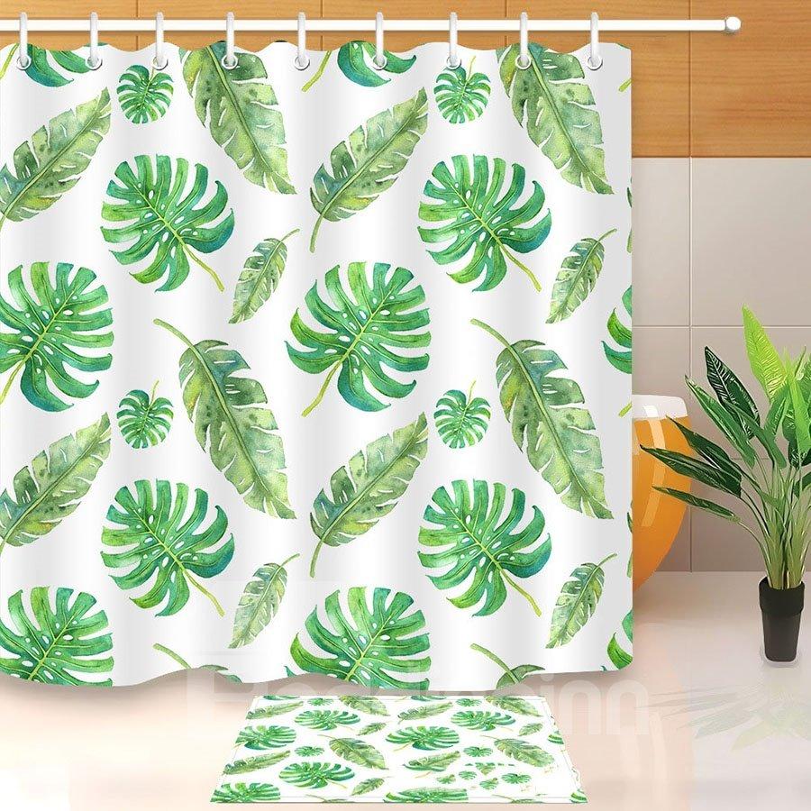 Tropical Banana Leaves Green Printed 3D Bathroom Shower Curtain