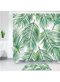Tropical Palm Leaves 3D Digital Printing Polyester Waterproof Bathroom Shower Curtain