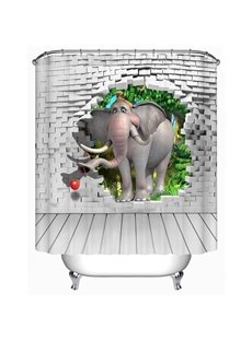 Elephant and Wall Bricks 3D Printed Bathroom Shower Curtain
