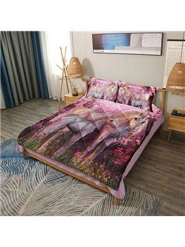 Heart-warming Pink Unicorn 3D Printed 3-Piece Comforter Set / Bedding Set
