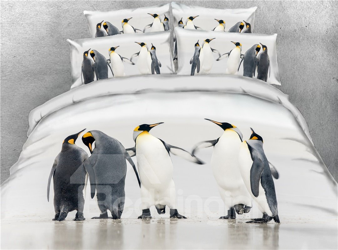 A Family of Penguins on a Walk Printed 3D 4-Piece Bedding Sets/Duvet Covers