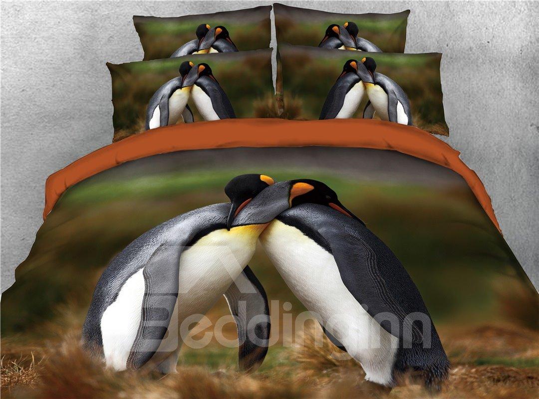 A Hugging Penguin Couple Printed 3D 4-Piece Bedding Sets/Duvet Covers