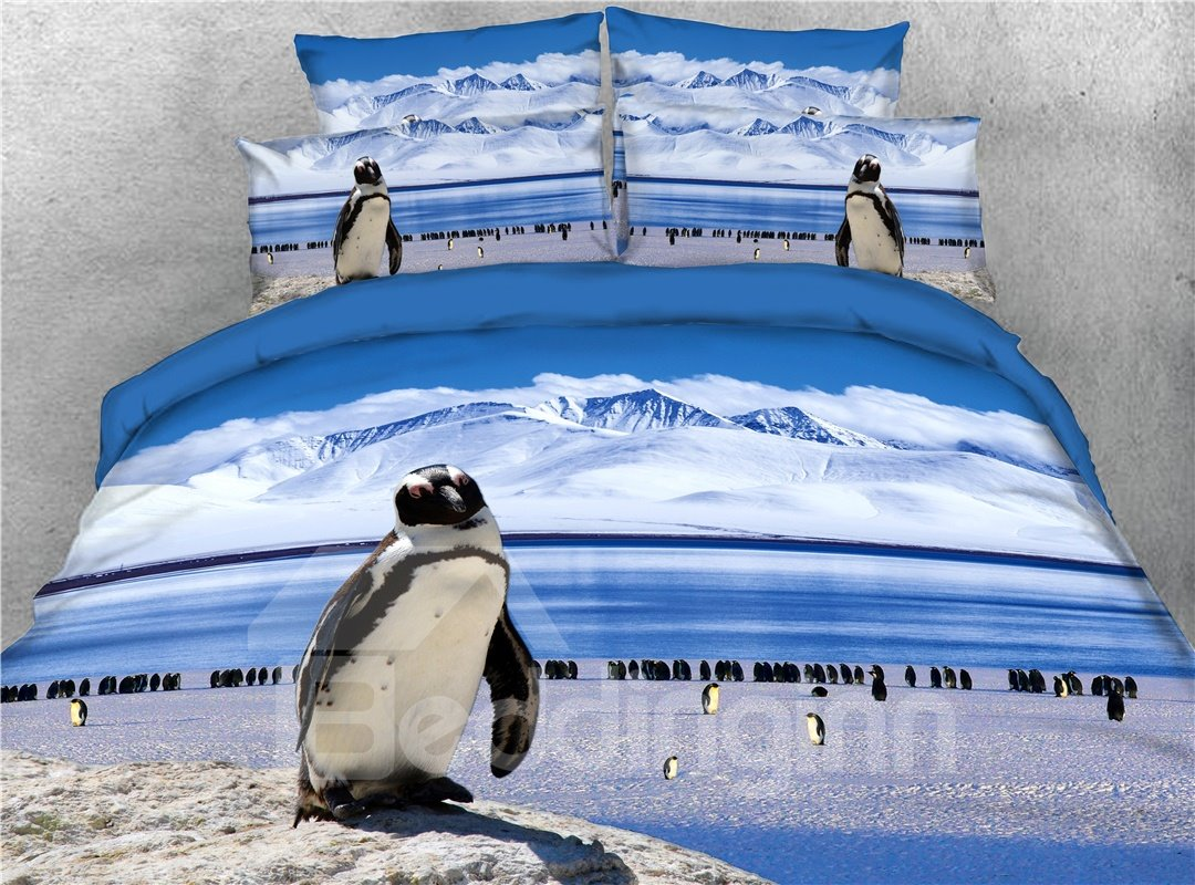 Penguins Playing on Ice Printed 3D 4-Piece Bedding Sets/Duvet Covers
