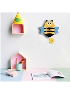 Silent Non-Ticking Yellow Small Kids Room Wall Clock