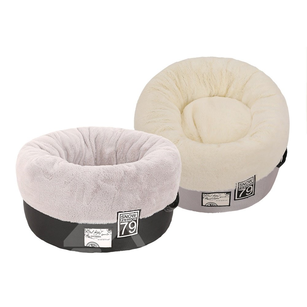 Cats and Dogs Self-Warming Plush Cushion Round Pet Bed