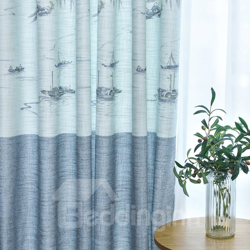 Cotton and Linen Blackout Colorblock Printed Curtains