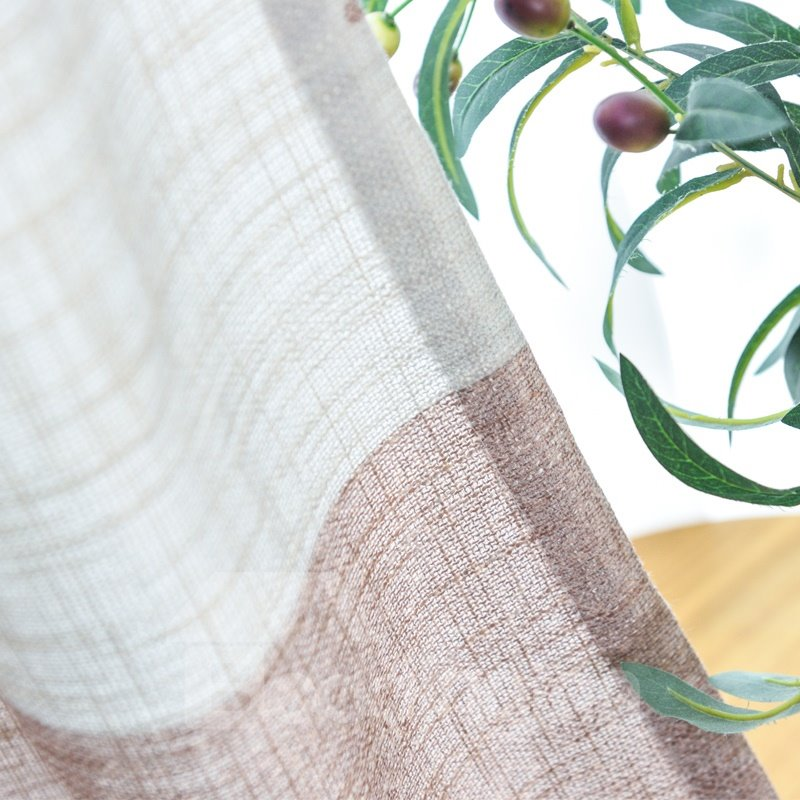 Blackout Colorblock Cotton and Linen Printed Curtains