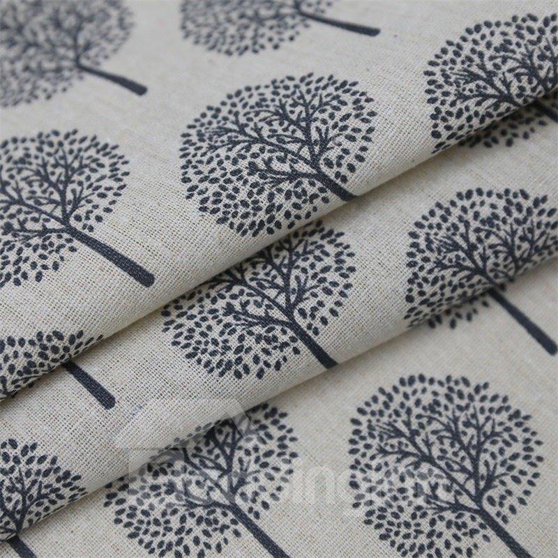 Blackout Small Tree Printed Grommet Top Custom Curtain
