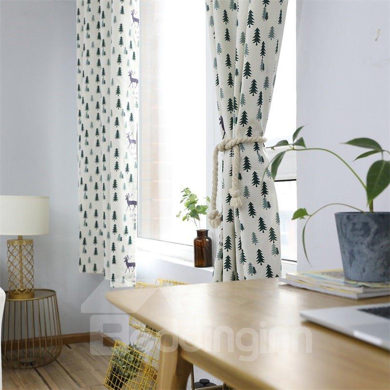 Blackout Fawn Printed Grommet Top Custom Curtain
