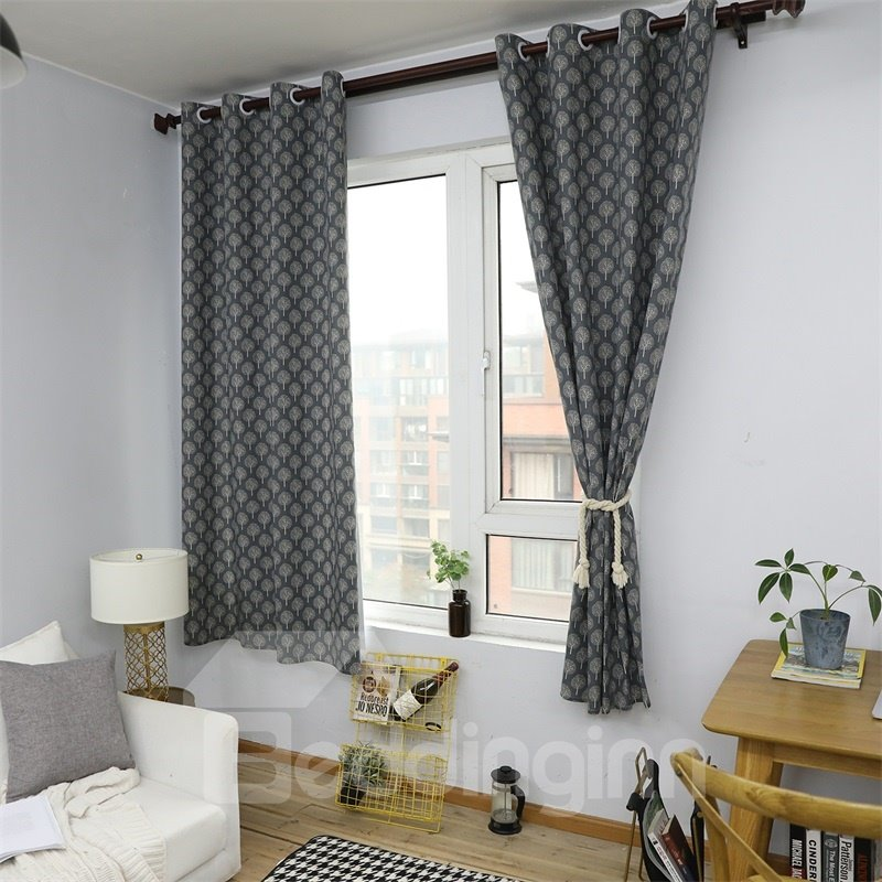 Black and White Small Tree Printed Grommet Top Custom Curtain