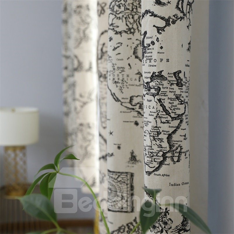 Blackout Map Printed Grommet Top Custom Curtain