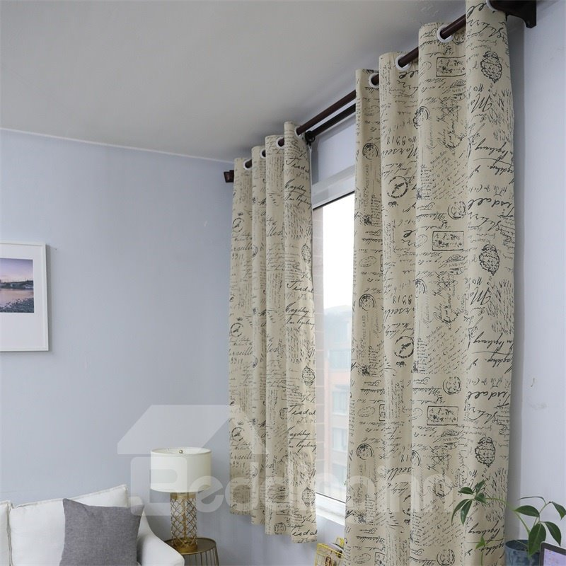 Black and White Map Printed Grommet Top Custom Curtain