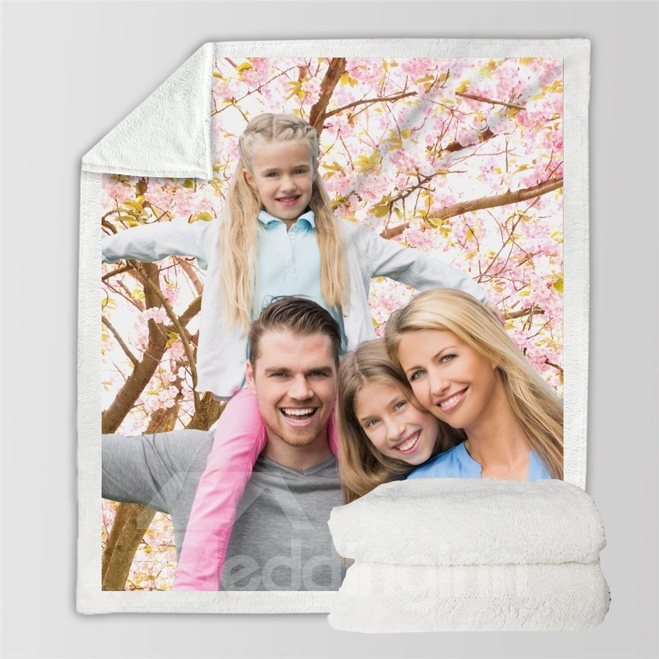 Put Your Photo on a Cotton Plush and Soft Blanket Personalised Gift