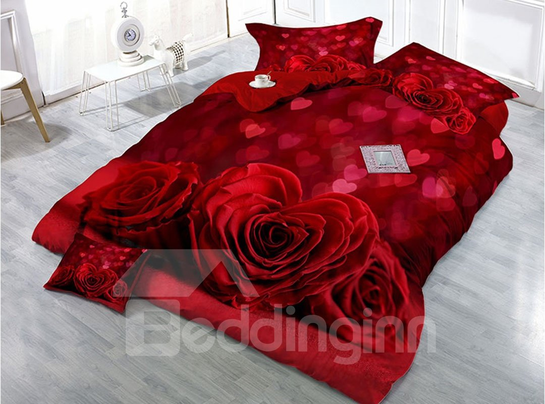 Heart Shaped Red Roses Wear Resistant Breathable 60s Pic
