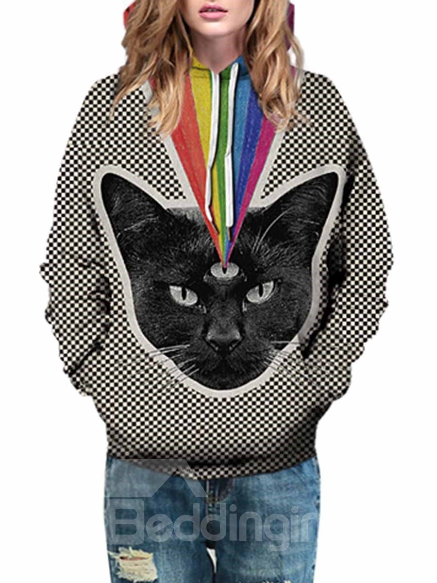 3D Cat Pattern Men Sweater Long Sleeve Cool Hoodies