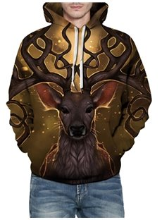 Fashion Long Sleeve Dream Deer Pattern 3D Painted Hoodie