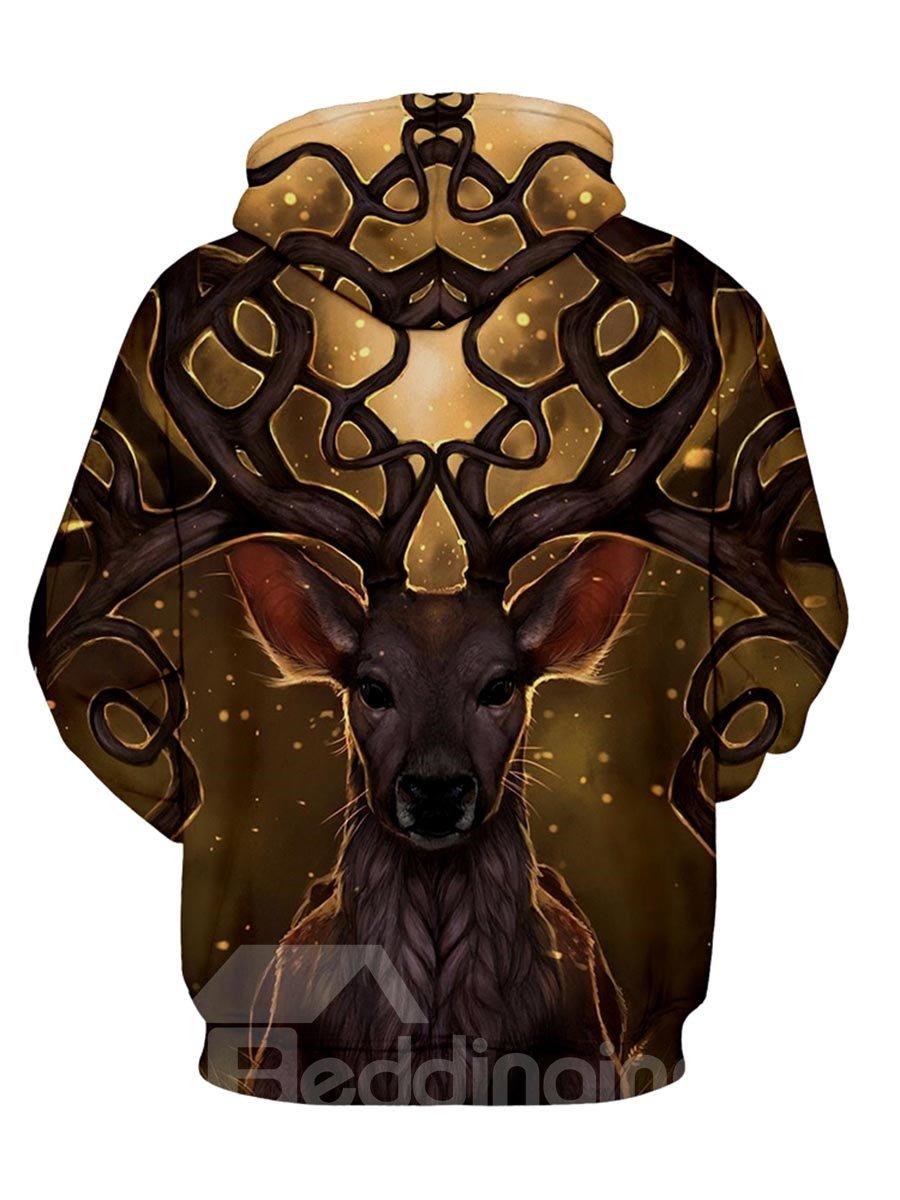 Fashion Long Sleeve Dream Deer Pattern 3D Painted Hoodie