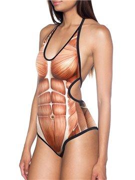 3D Creative Women Sexy High Cut One Piece Swimsuit