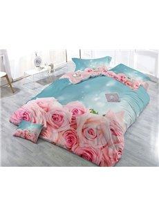 400 Thread Count Snug Cotton 4-Piece 3D Rose Bedding Sets/Duvet Covers