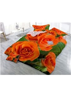 Fade Resistant And Soft Cotton 4-Piece 3D Rose Bedding Sets/Duvet Covers