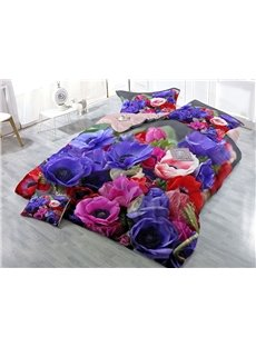 Skin-friendly Luxury Cotton 4-Piece 3D Rose Bedding Sets/Duvet Covers