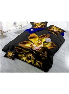 Soft and Comfortable 400 Thread Count Cotton 4-Piece 3D Special Flower Bedding Sets