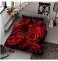 60s Fabric Count Cotton 4-Piece 3D Living Roses Printed Bedding Sets/Duvet Covers