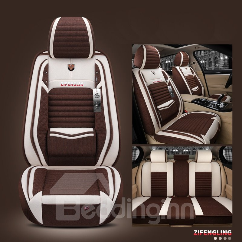 Modern Style Color Block Linen Truck Seat Cover