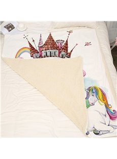 Double Thickened Coral Fleece Unicorn Printed 3D Blanket