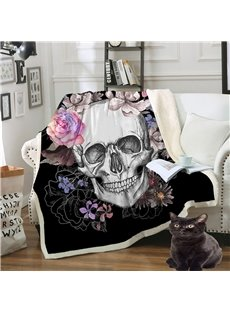 Soft Double Thickened Velvet Skull Printed 3D Blanket