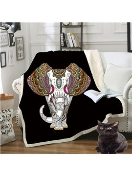 Double Thickened Warm Cotton Lint Elephant Printed 3D Blanket