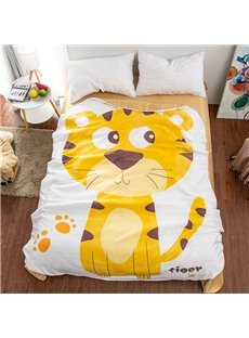 Yellow Tiger Shaped 3D Washable Light Summer Quilt