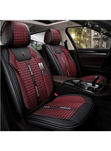 Business Style Ice Silk Material Color Block Universal Car Seat Cover