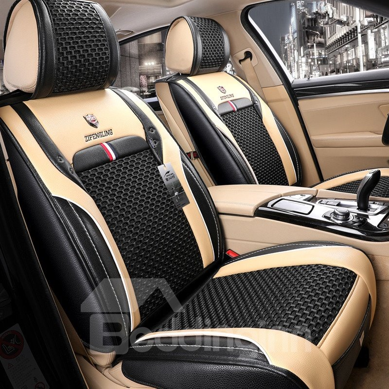 Modern Color Block Ice Silk Universal Car Seat Cover Pic