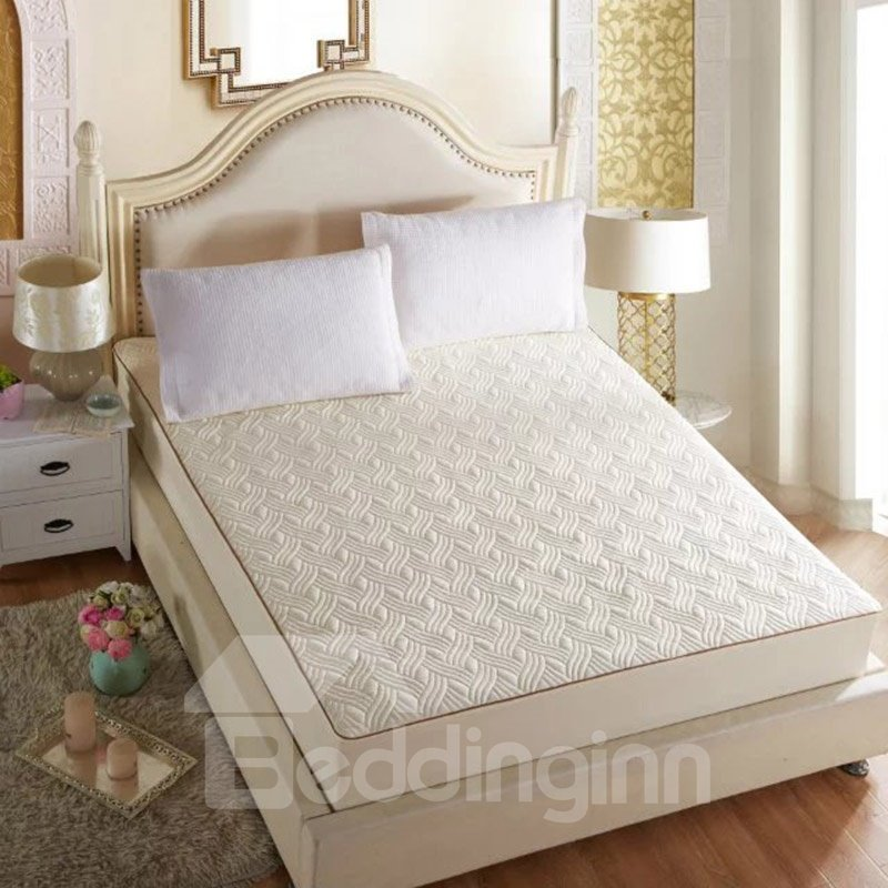 Wave Style Solid Color Mattress Protector Fitted Sheet