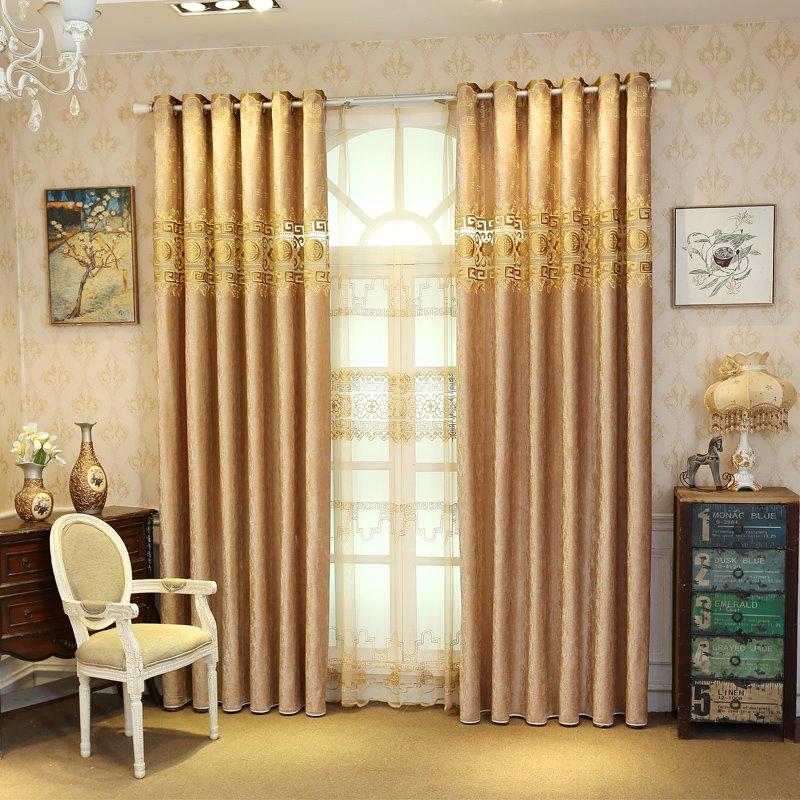 European Style Living Room Curtains Room Darkening Gold Luxury Curtains