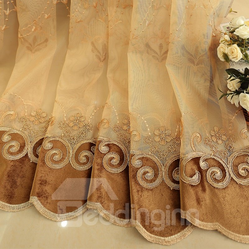 Gold Luxury Elegant Floral Embroidered Living Room Semi Sheer Curtains