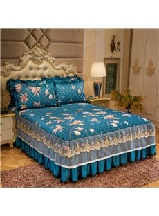 Flower Printed Blue Lace Ruffle Quilting Bed Skirt
