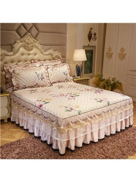 Ruffled Fade Resistant Floral Printed Lace Bed Skirt
