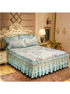 Floral Printed Quilting Wrinkle and Fade Resistant Lace Ruffle Bed Skirt