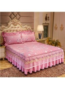 Easy Fit Wrinkle and Fade Resistant Pink Ruffle Bed Skirt