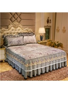 Shrink and Fade Resistant Floral Style Lace Ruffle Bed Skirt